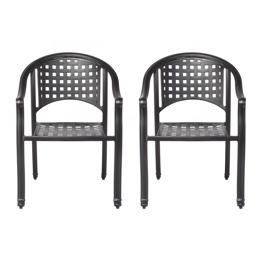 """Milano Café Set with 31.5"""" Square Café Table with Umbrella Hole and 4 Stackable Café Chairs in London Black Finish. Picture 2"""