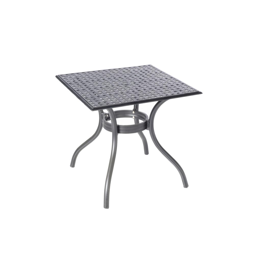"""Milano Café Set with 31.5"""" Square Café Table with Umbrella Hole and 4 Stackable Café Chairs in London Black Finish. Picture 7"""