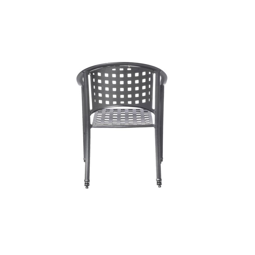 """Milano Café Set with 31.5"""" Square Café Table with Umbrella Hole and 4 Stackable Café Chairs in London Black Finish. Picture 8"""