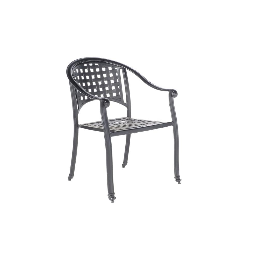 """Milano Café Set with 31.5"""" Square Café Table with Umbrella Hole and 4 Stackable Café Chairs in London Black Finish. Picture 10"""