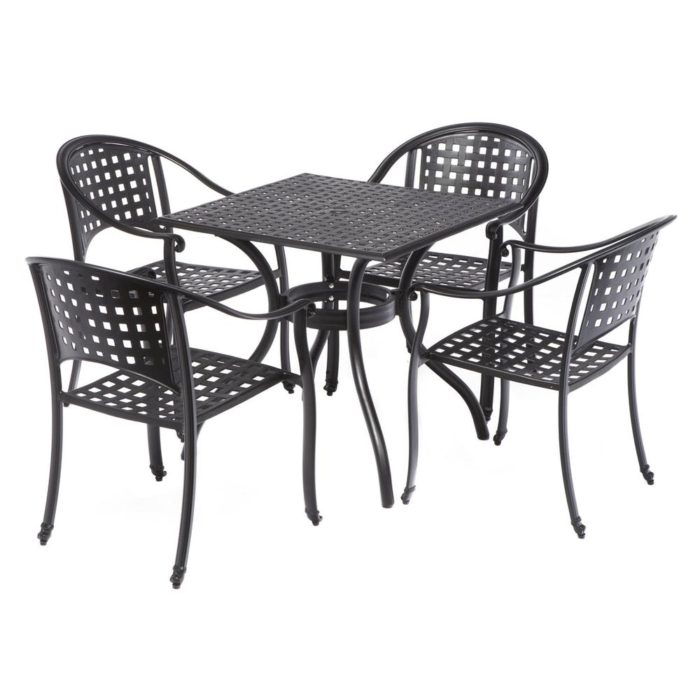 """Milano Café Set with 31.5"""" Square Café Table with Umbrella Hole and 4 Stackable Café Chairs in London Black Finish. Picture 12"""