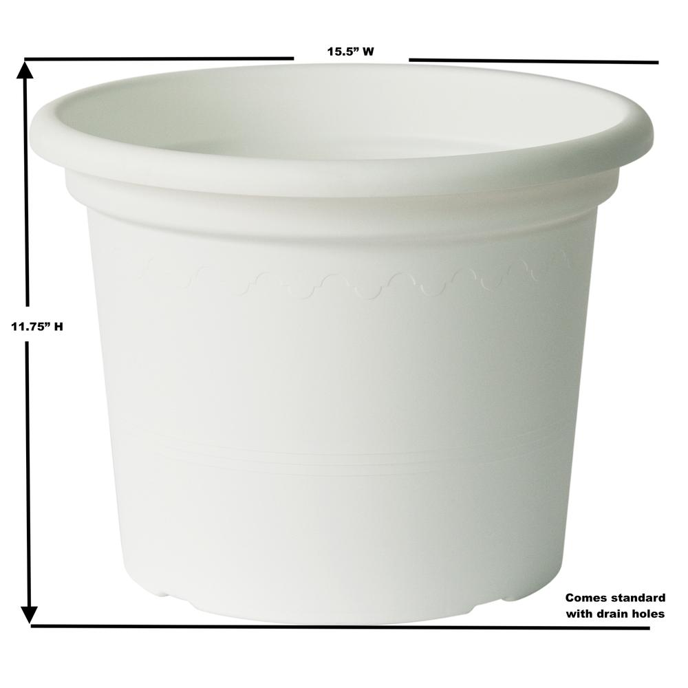 "15.75"" Geo Planter in Shiny White. Picture 5"