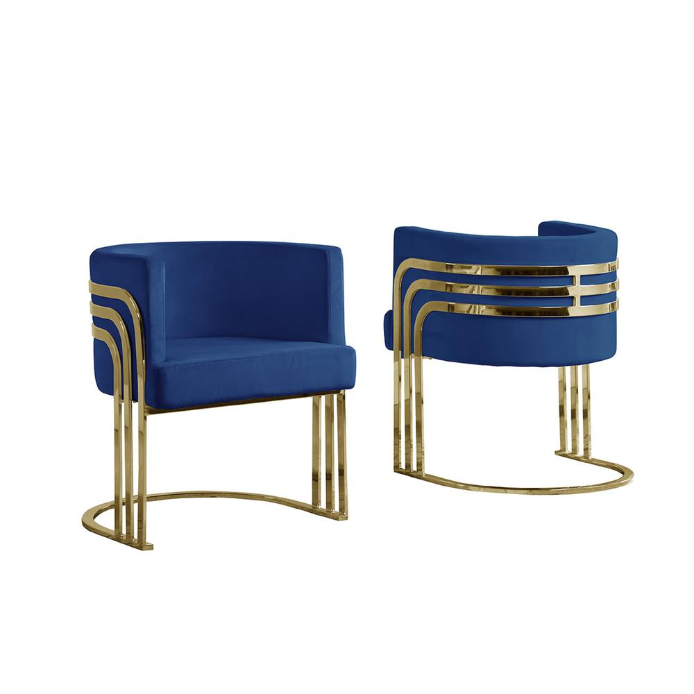 Single Velvet Barrel Chair, Golden Chrome Legs, Navy Blue. The main picture.