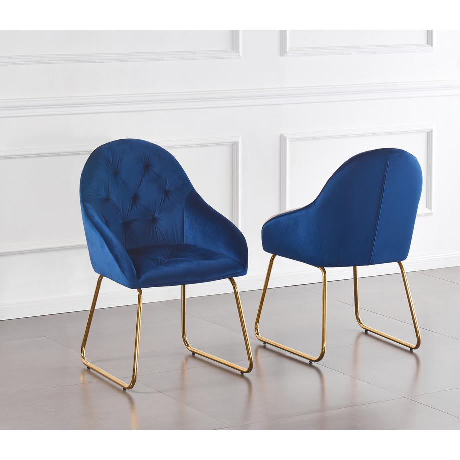 Tufted Velvet Upholstered Armchair, 4 Colors to Choose (Set of 2) - Navy 253. Picture 1