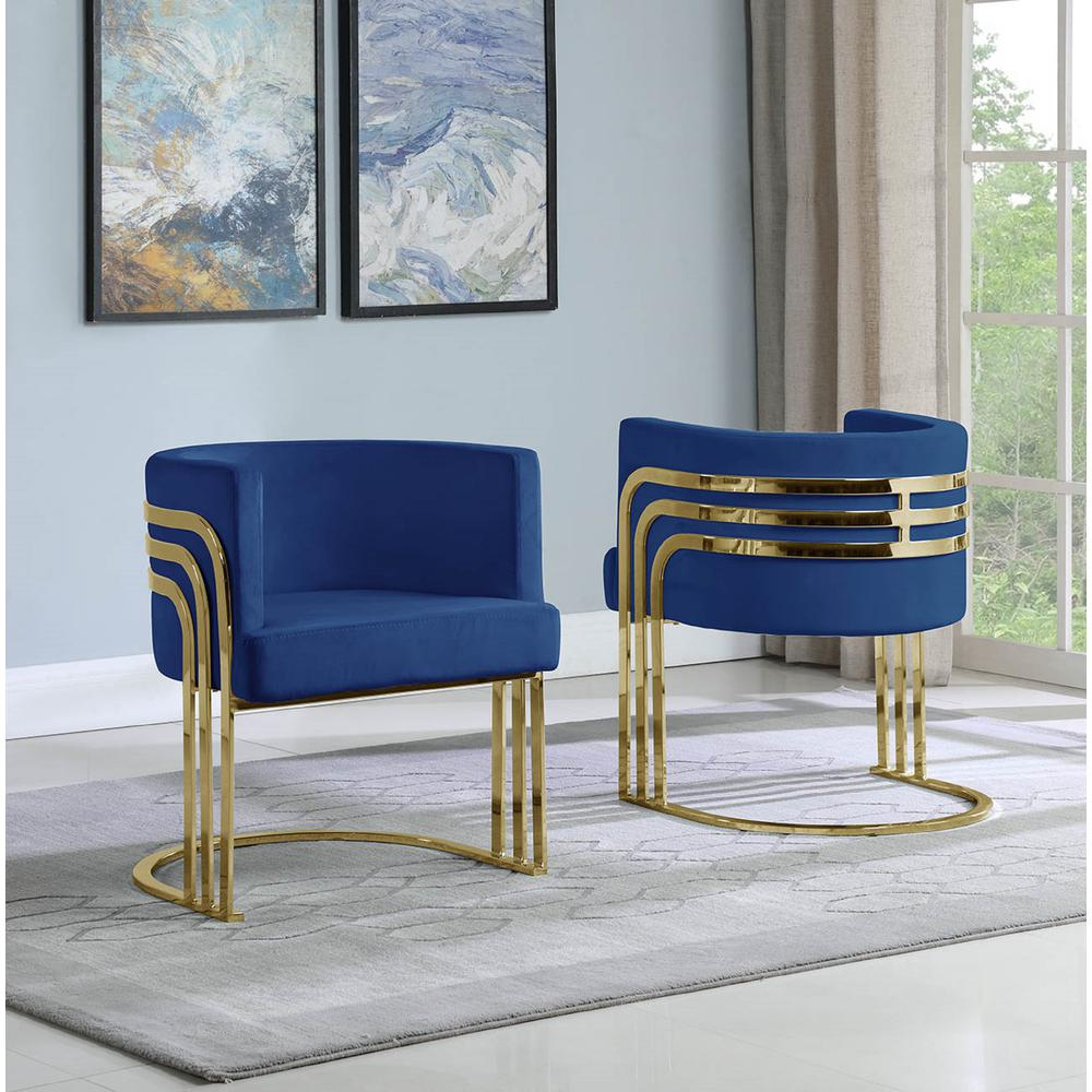 Single Velvet Barrel Chair, Golden Chrome Legs, Navy Blue. Picture 2