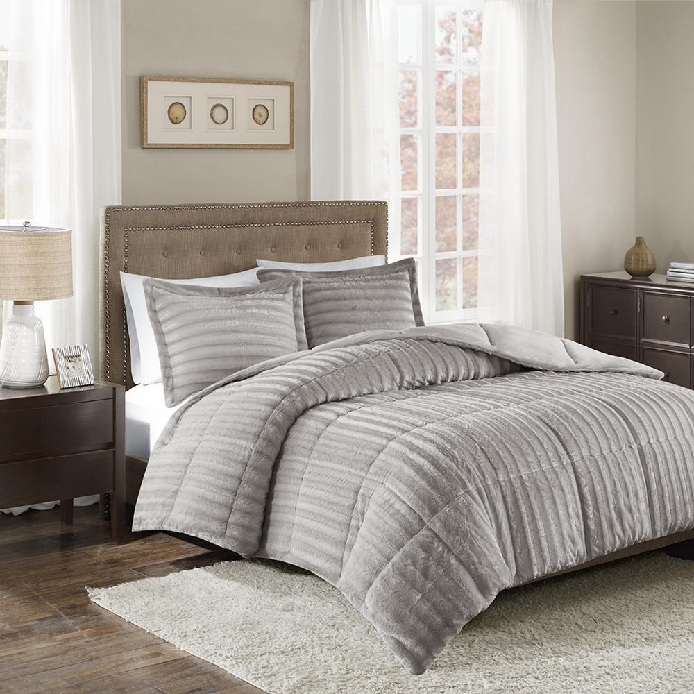 100% Polyester Solid Brushed Faux Fur Comforter Mini Set,MP10-3071. Picture 2