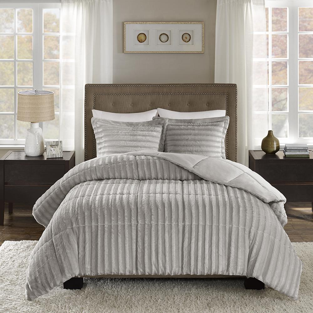 100% Polyester Solid Brushed Faux Fur Comforter Mini Set,MP10-3071. Picture 1