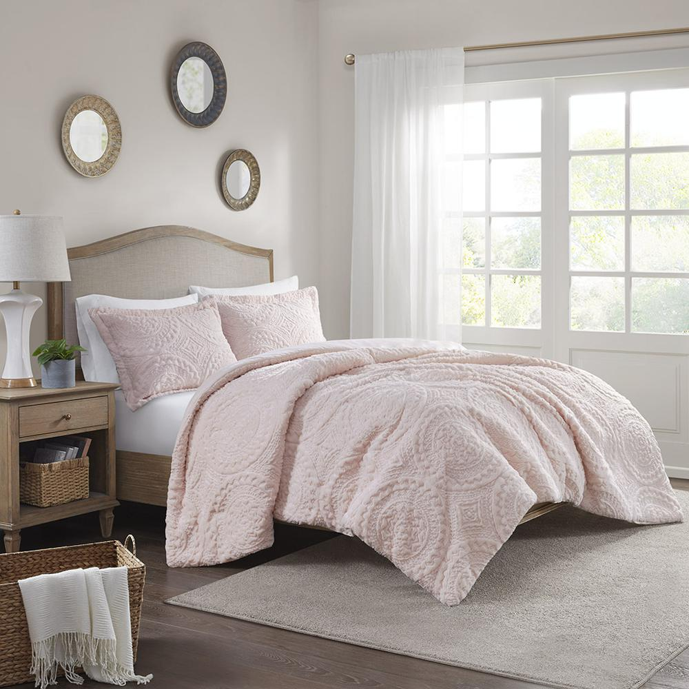 100% Polyester Embroidered Medallion Long Fur to Mink Comforter Set,MP10-5061. Picture 2