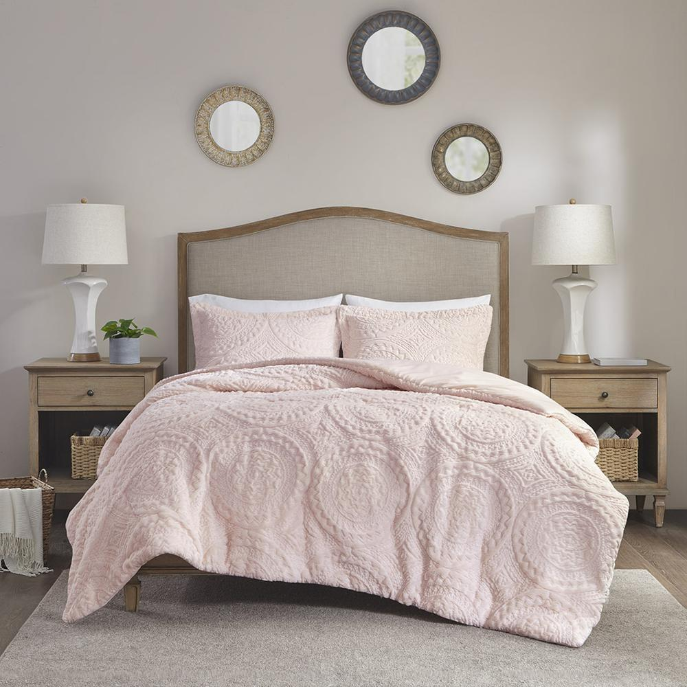 100% Polyester Embroidered Medallion Long Fur to Mink Comforter Set,MP10-5062. Picture 1
