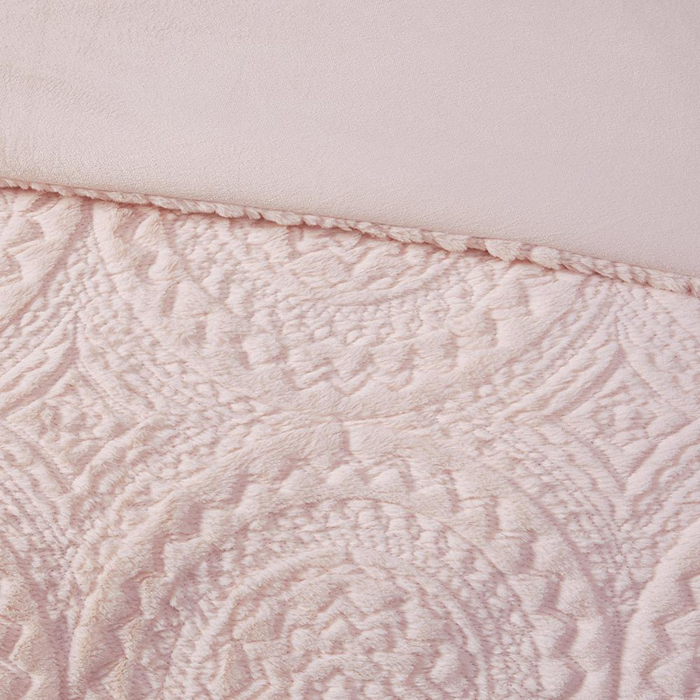 100% Polyester Embroidered Medallion Long Fur to Mink Comforter Set,MP10-5062. Picture 12