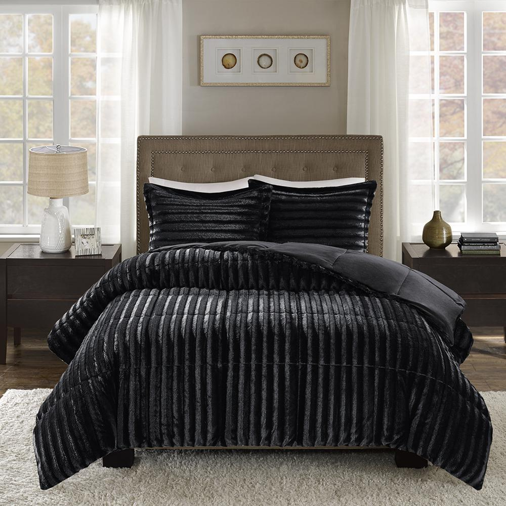 100% Polyester Solid Brushed Faux Fur Comforter Mini Set,MP10-3064. Picture 1