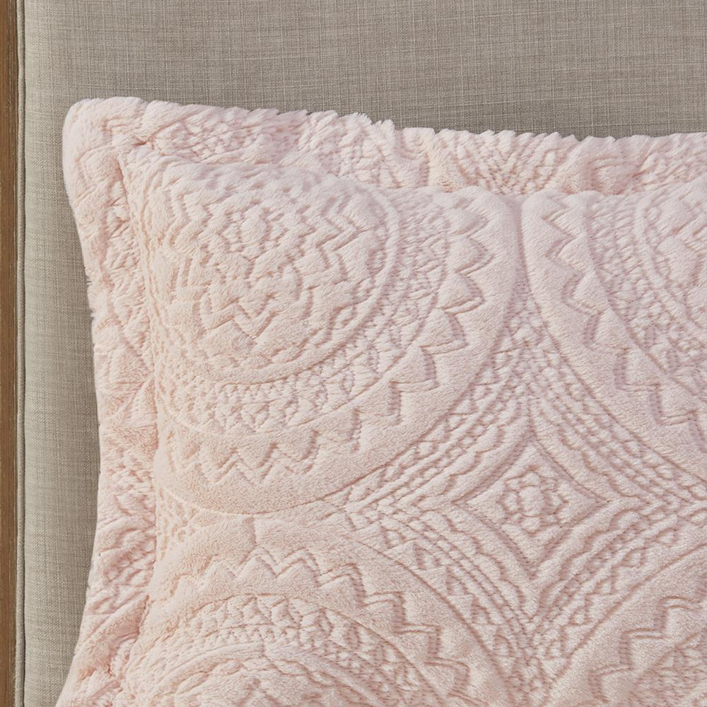 100% Polyester Embroidered Medallion Long Fur to Mink Comforter Set,MP10-5061. Picture 10