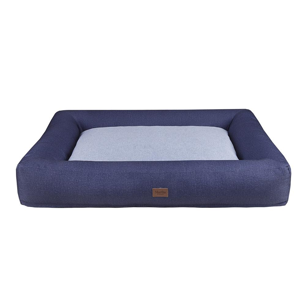 Denim Bolster Pet Napper with removable cover Navy/Grey 589. Picture 3