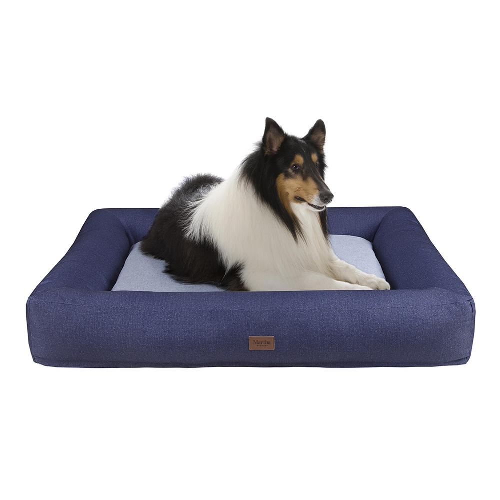 Denim Bolster Pet Napper with removable cover Navy/Grey 589. Picture 2