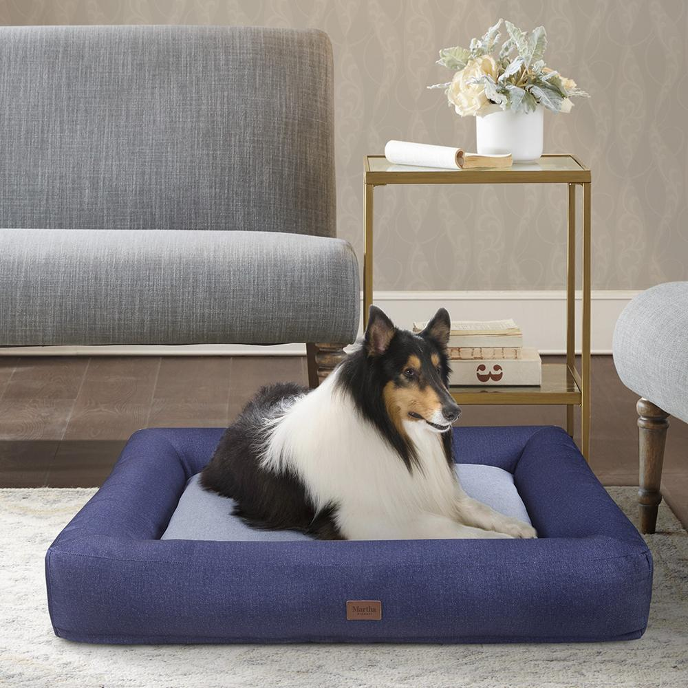 Denim Bolster Pet Napper with removable cover Navy/Grey 589. Picture 1