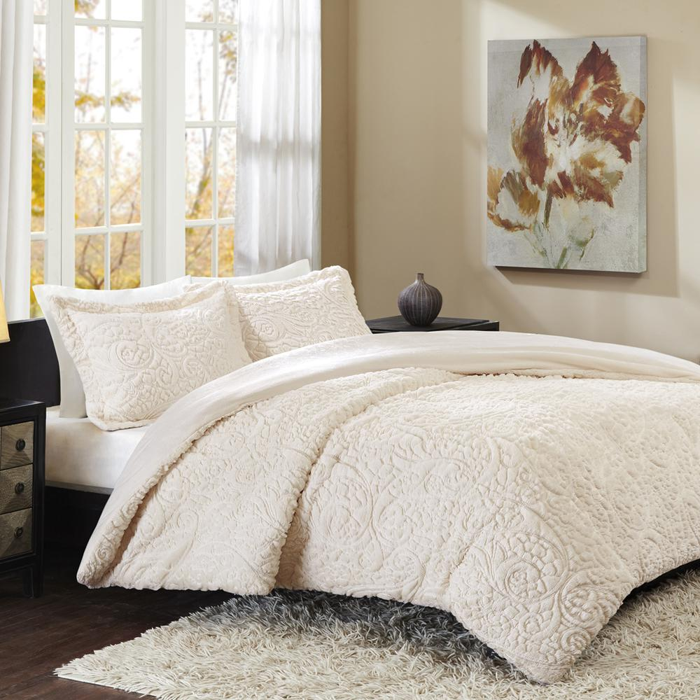 100% Polyester Embroidered Solid Long Fur Ultra Plush Comforter Mini Set,MP10-1993. Picture 1