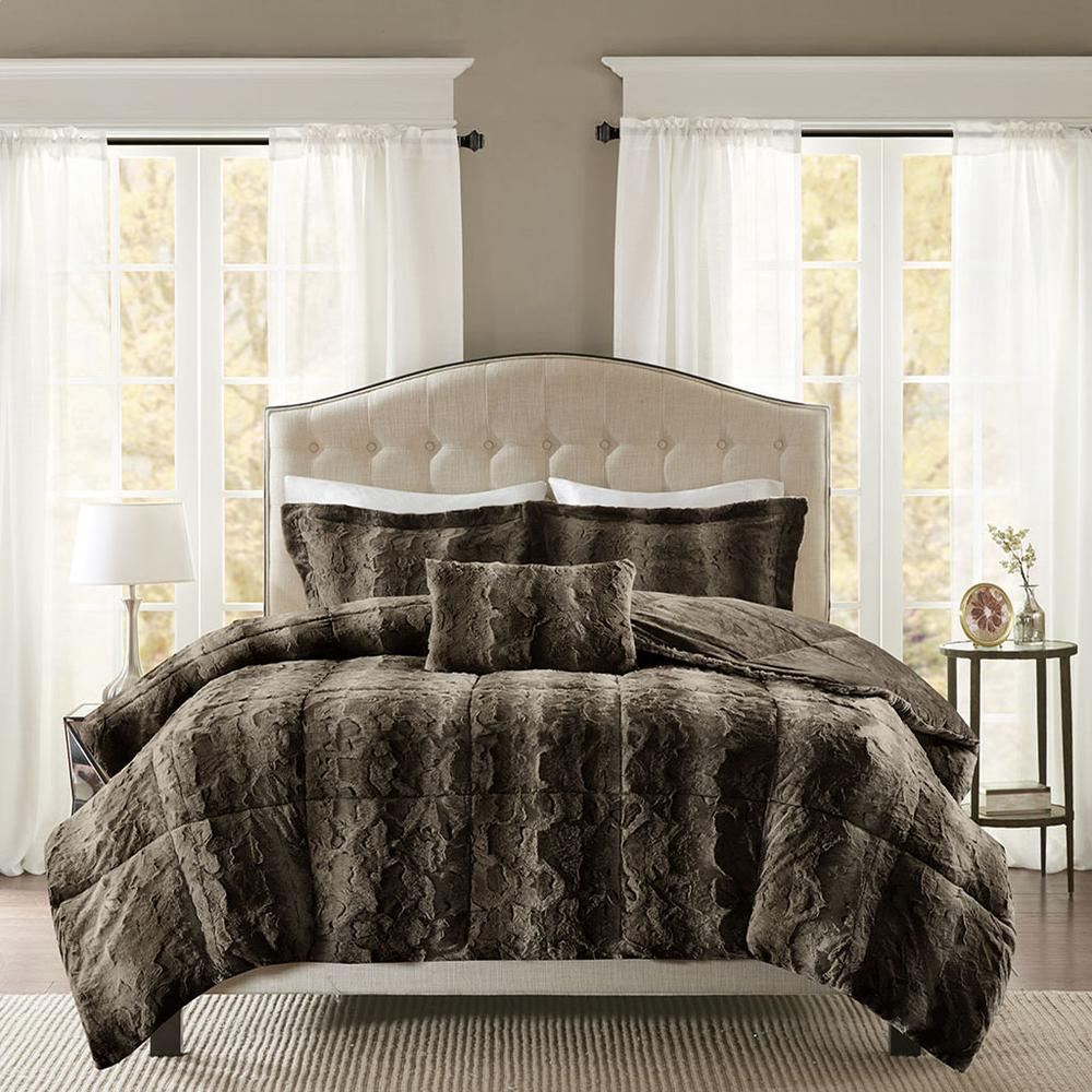 100% Polyester Print Brushed Faux Fur Comforter Set,MP10-3074. Picture 1