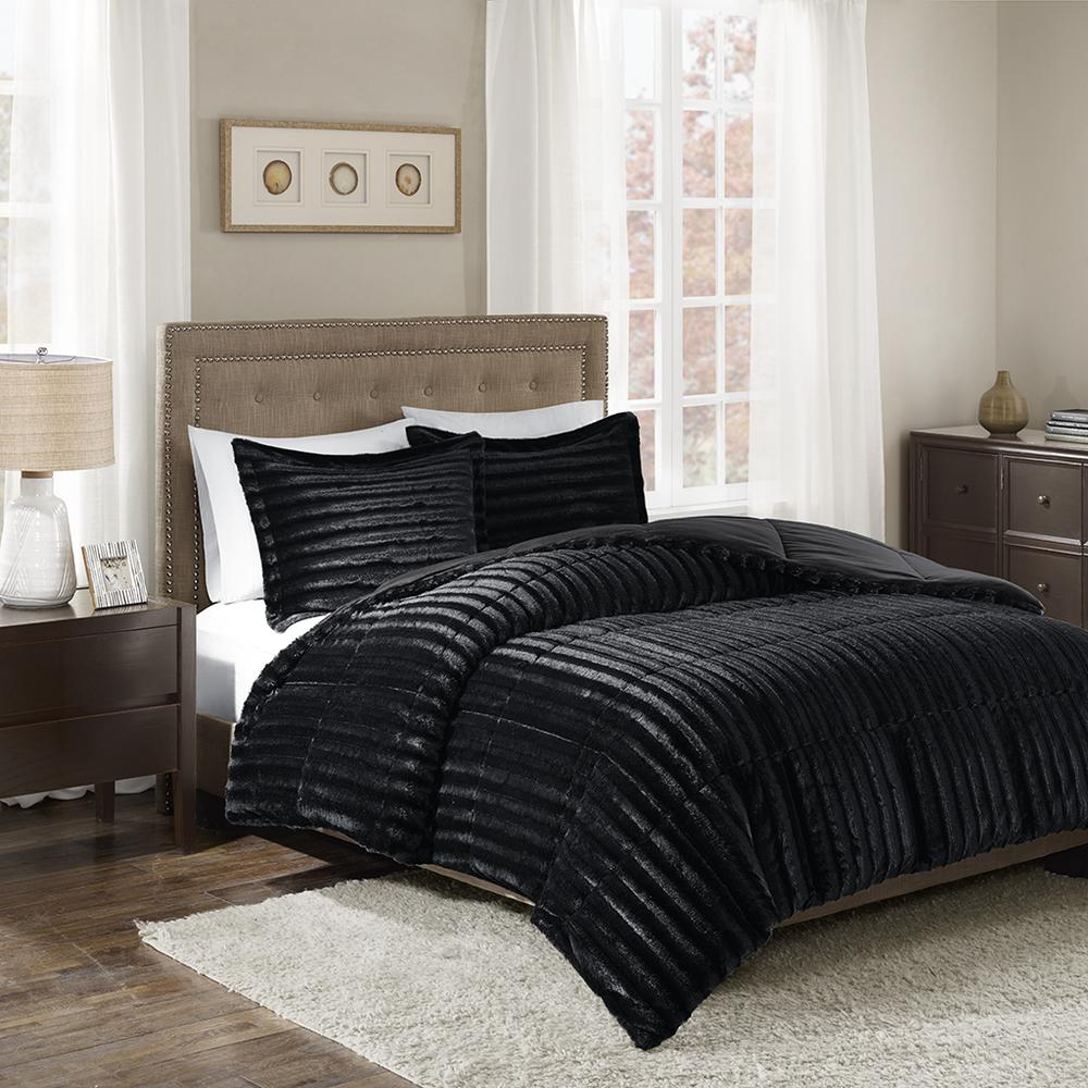 100% Polyester Solid Brushed Faux Fur Comforter Mini Set,MP10-3064. Picture 2