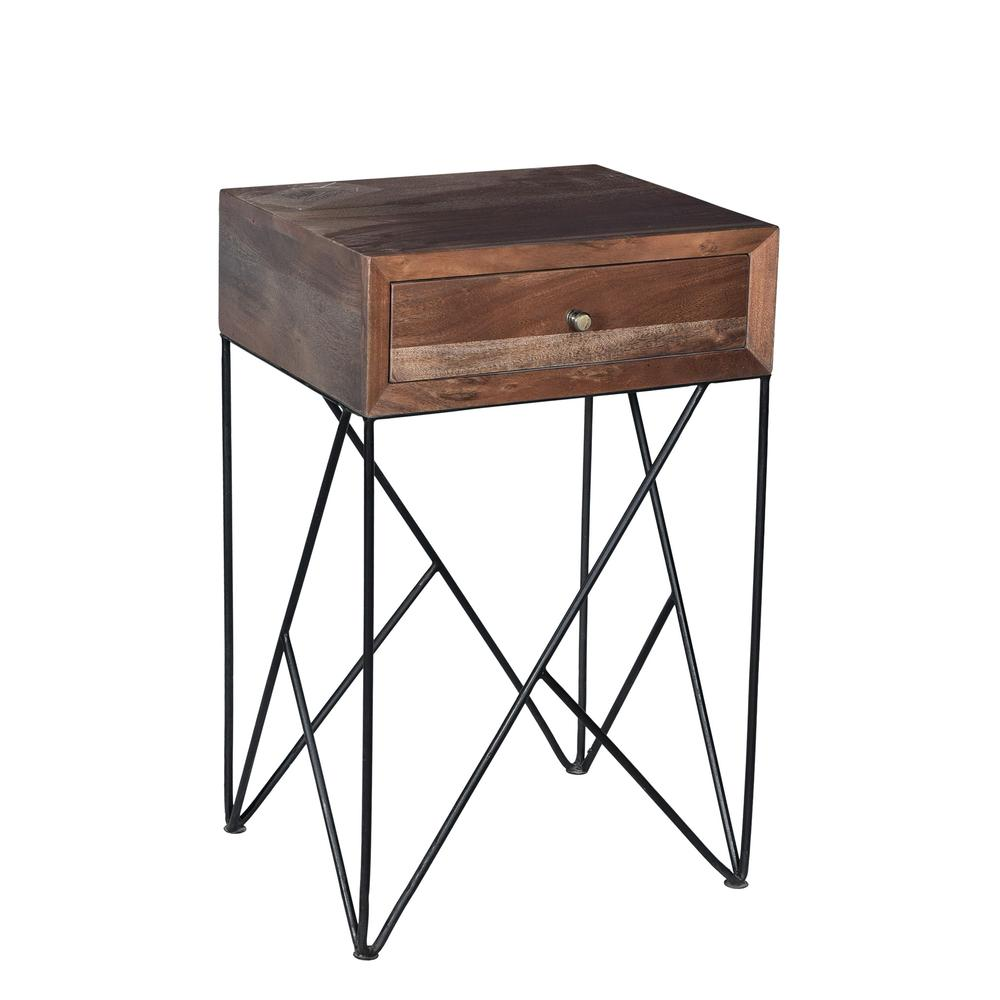Bengal Manor Acacia Wood and Metal 1 Drawer Accent Table. Picture 1
