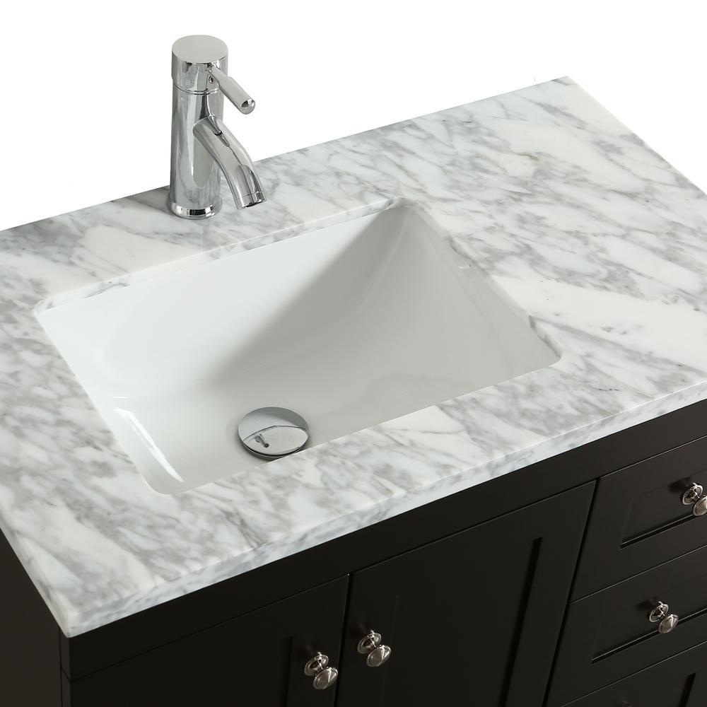 "Happy 28"" x 18"" Espresso Transitional Bathroom Vanity w/ White Carrara Top. Picture 3"