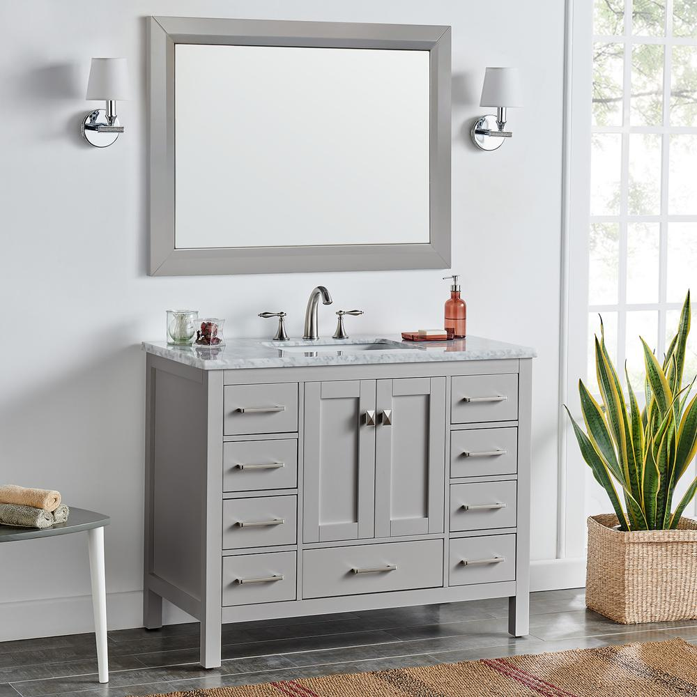"Aberdeen 42"" Gray Transitional Bathroom Vanity w/ White Carrara Top. Picture 6"