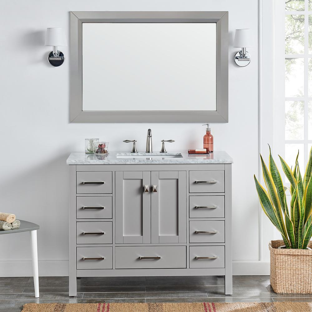 "Aberdeen 42"" Gray Transitional Bathroom Vanity w/ White Carrara Top. Picture 5"