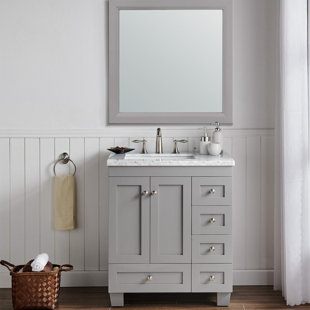 """Acclaim 28"""" Gray Transitional Bathroom Vanity w/ White Carrara Top. Picture 5"""