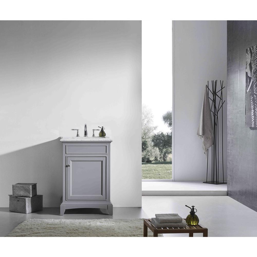 "Elite Stamford 24"" Gray Bathroom Vanity w/ Double Ogee Edge White Carrara Top. Picture 2"