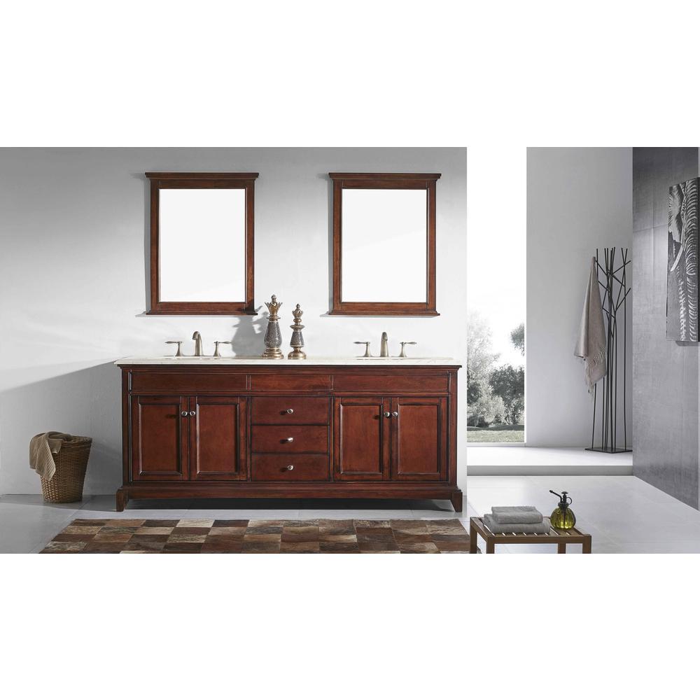 "Elite Stamford 60"" Teak Double Sink Bathroom Vanity w/ Double Ogee Edge Crema Marfil Top. Picture 2"