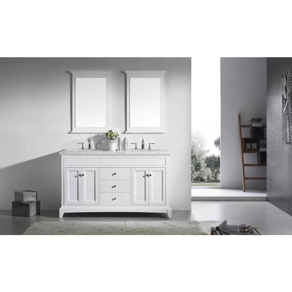 "Elite Stamford 72"" White Double Sink Bathroom Vanity w/ Double Ogee Edge White Carrara Top. Picture 2"