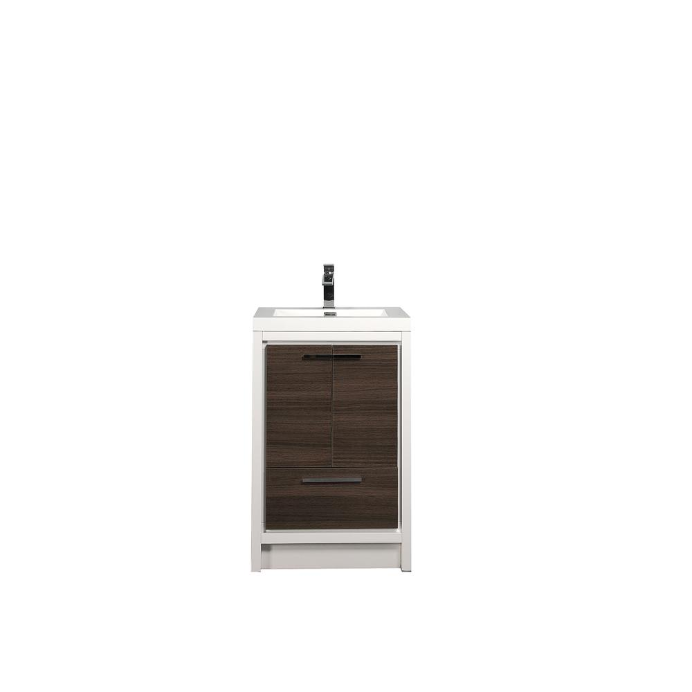 """Grace 30"""" Gray Oak/White Bathroom Vanity w/ White Integrated Top. Picture 1"""