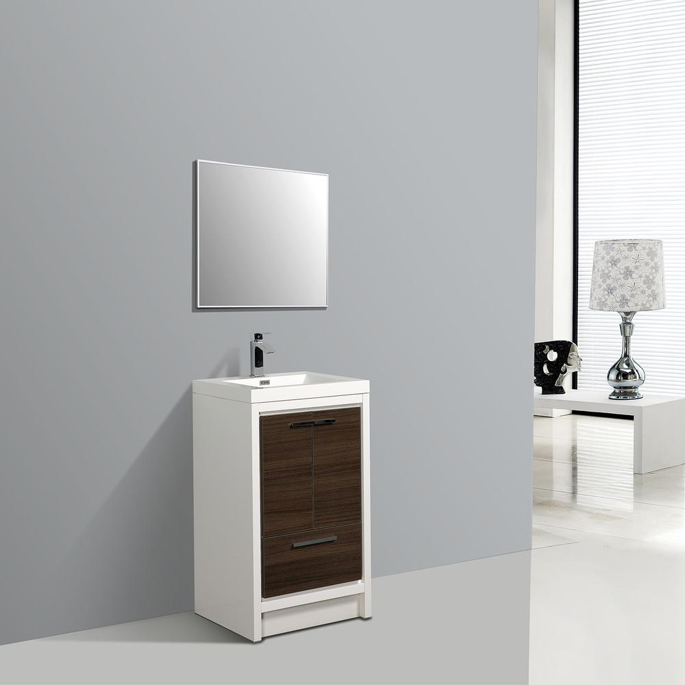 """Grace 30"""" Gray Oak/White Bathroom Vanity w/ White Integrated Top. Picture 3"""