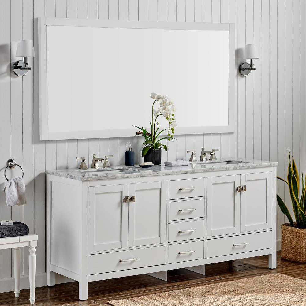 "Aberdeen 84"" White Transitional Double Sink Bathroom Vanity w/ White Carrara Top. Picture 6"
