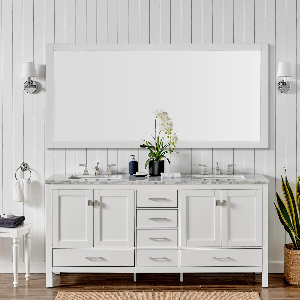 "Aberdeen 84"" White Transitional Double Sink Bathroom Vanity w/ White Carrara Top. Picture 5"