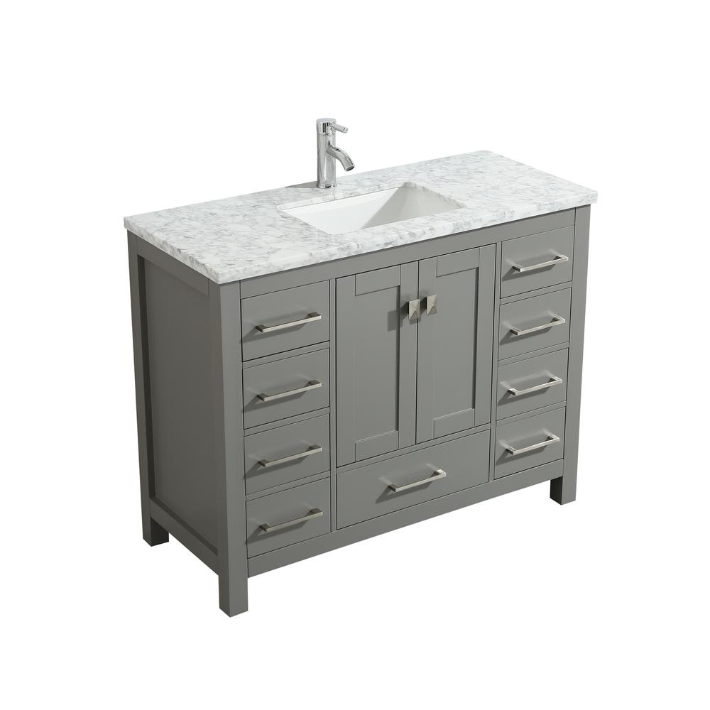 """London 48"""" x 18"""" Gray Transitional Bathroom Vanity w/ White Carrara Top. Picture 2"""