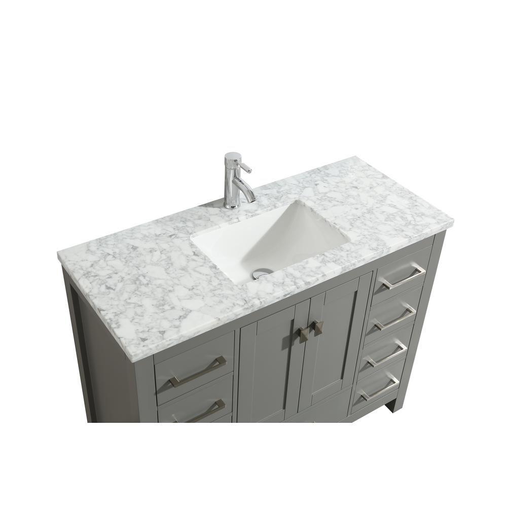 """London 48"""" x 18"""" Gray Transitional Bathroom Vanity w/ White Carrara Top. Picture 3"""