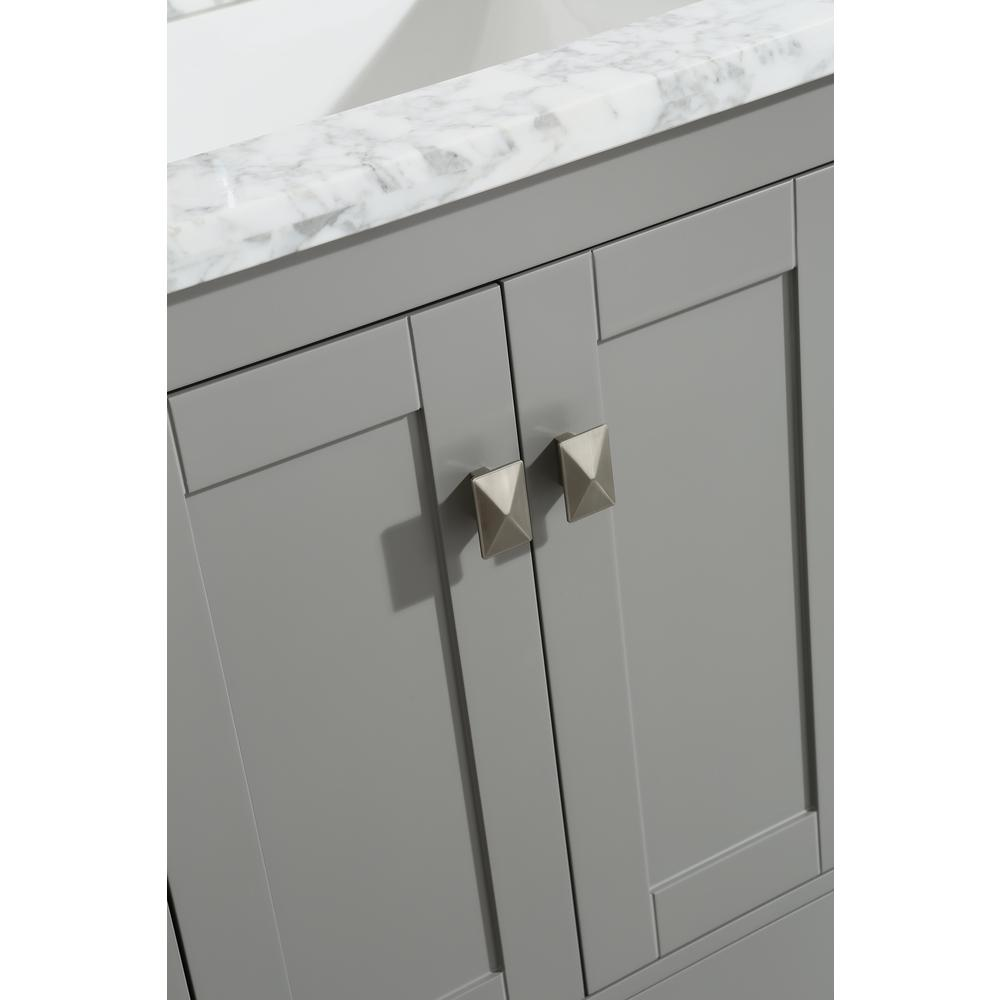 """London 48"""" x 18"""" Gray Transitional Bathroom Vanity w/ White Carrara Top. Picture 4"""