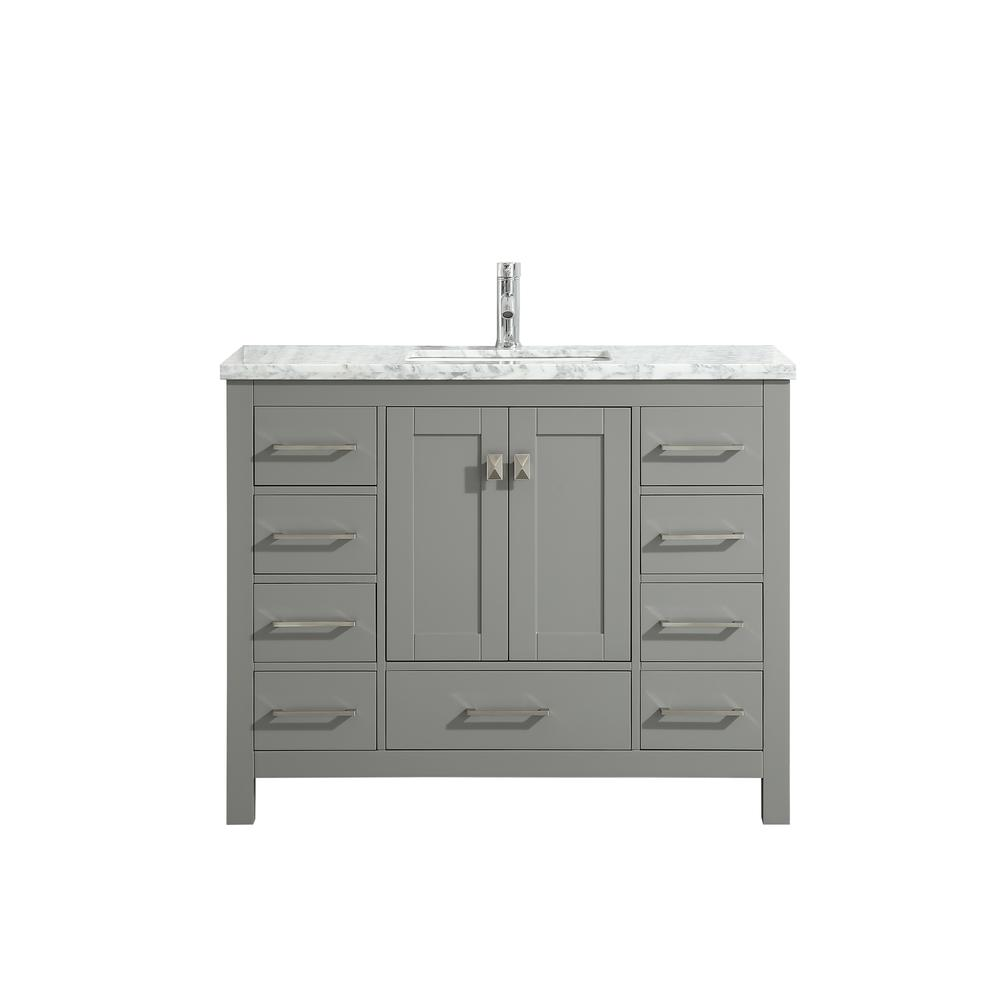 """London 48"""" x 18"""" Gray Transitional Bathroom Vanity w/ White Carrara Top. Picture 1"""