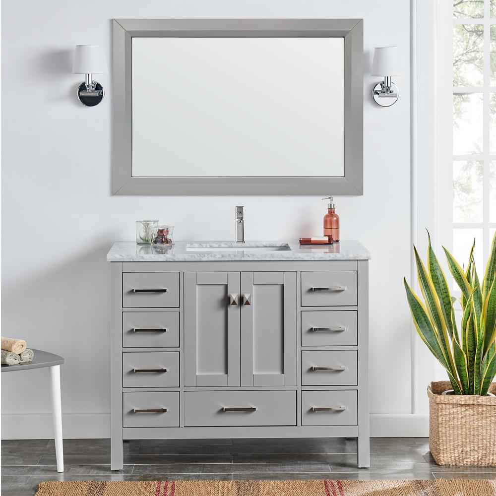 """London 48"""" x 18"""" Gray Transitional Bathroom Vanity w/ White Carrara Top. Picture 5"""