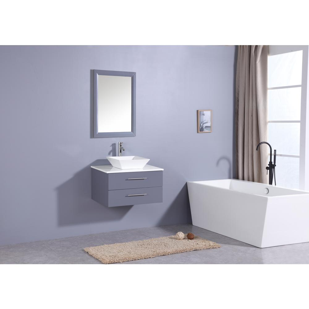 """Wave 24"""" Gray Modern Bathroom Vanity w/ Super White Man-Made Stone Top & Sink. Picture 2"""