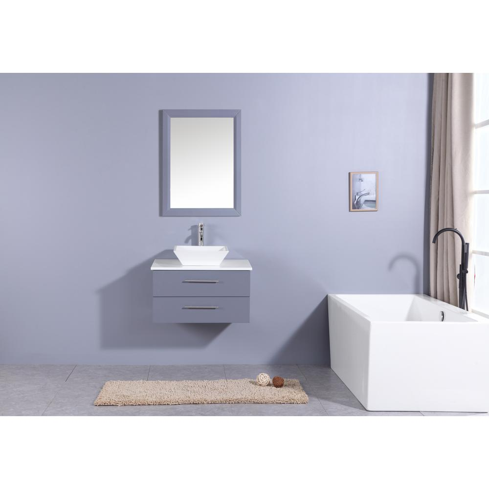 """Wave 24"""" Gray Modern Bathroom Vanity w/ Super White Man-Made Stone Top & Sink. Picture 3"""