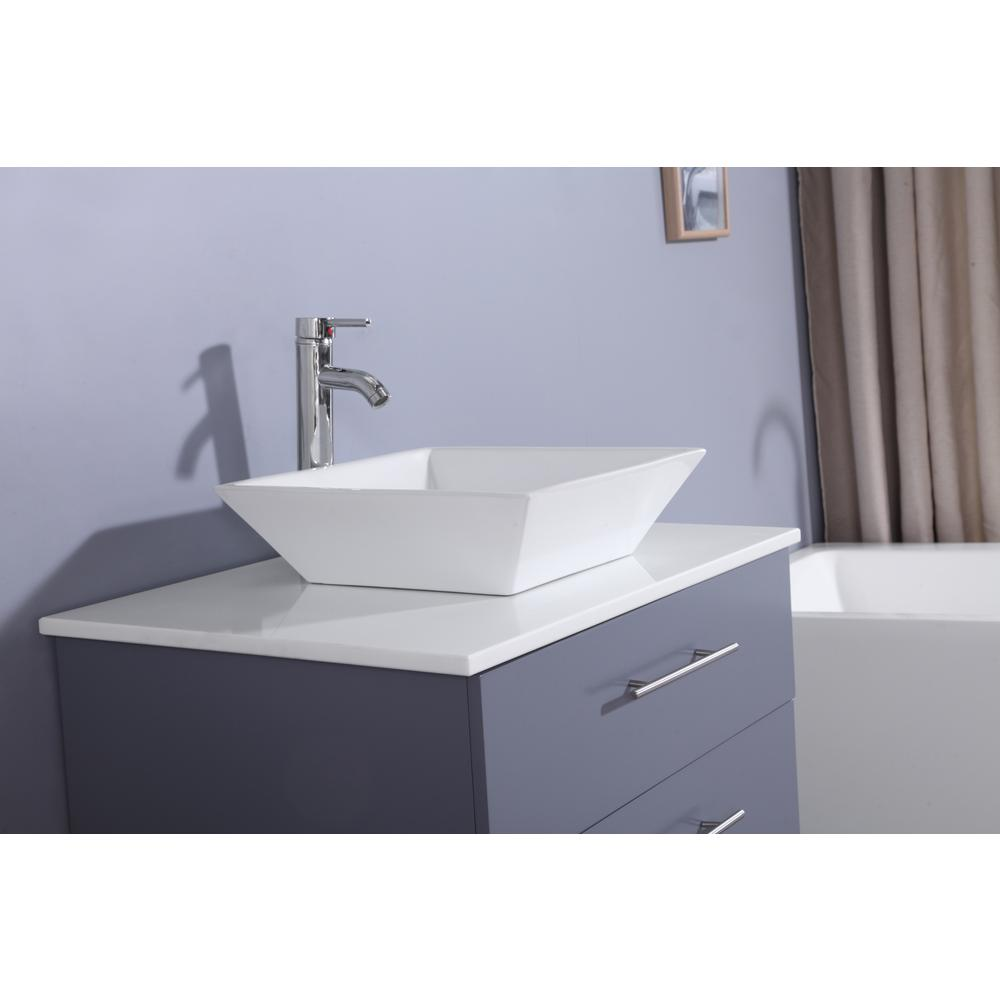 """Wave 24"""" Gray Modern Bathroom Vanity w/ Super White Man-Made Stone Top & Sink. Picture 4"""