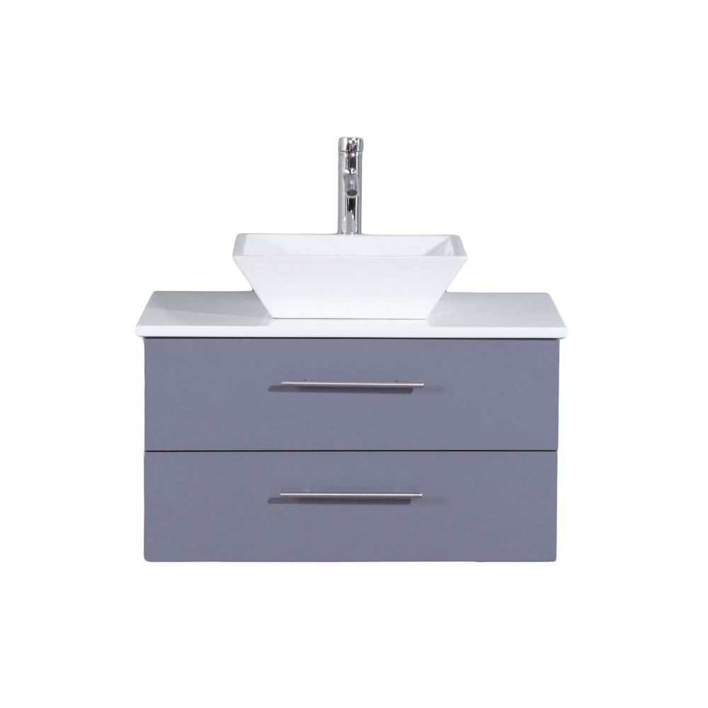 """Wave 24"""" Gray Modern Bathroom Vanity w/ Super White Man-Made Stone Top & Sink. Picture 1"""