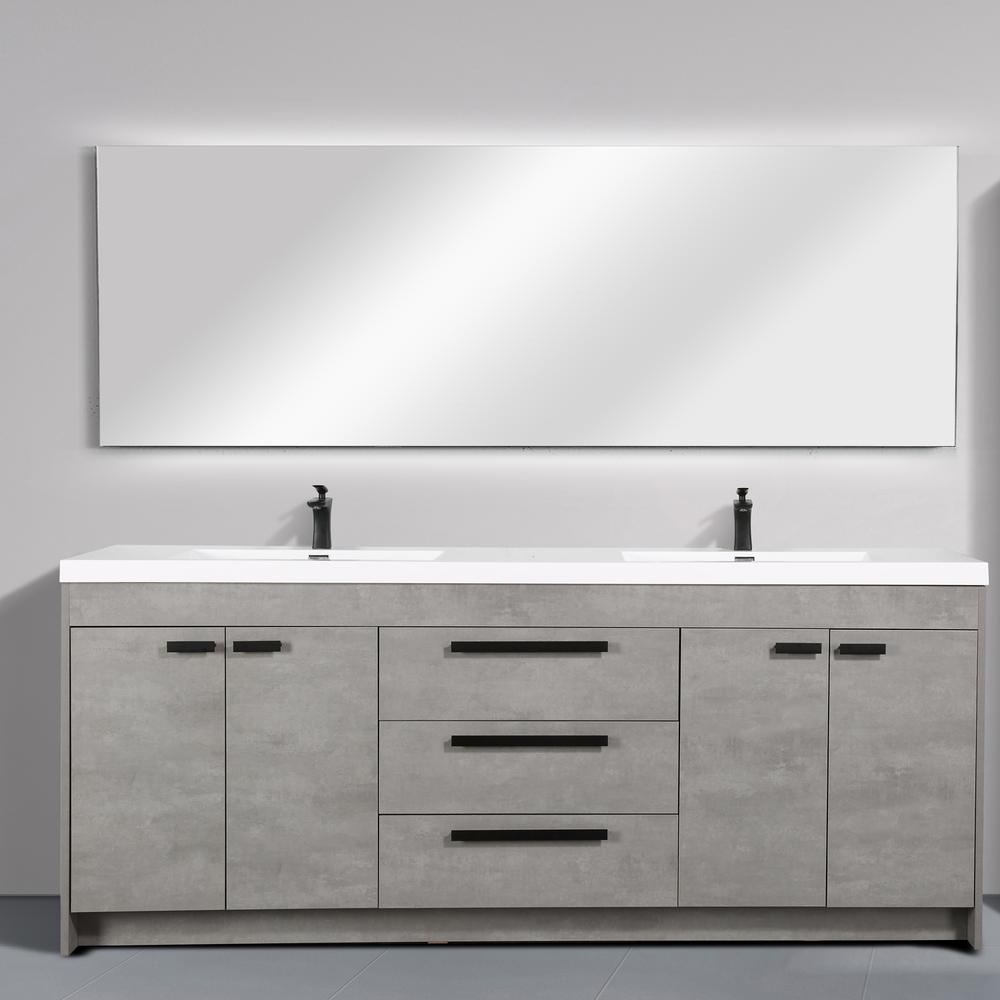 """Lugano 84"""" Cement Gray Modern Double Sink Bathroom Vanity w/ White Integrated Top. Picture 3"""