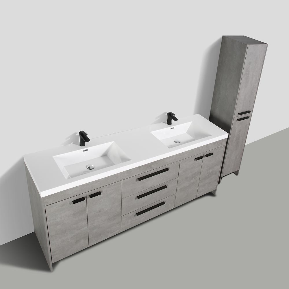 """Lugano 84"""" Cement Gray Modern Double Sink Bathroom Vanity w/ White Integrated Top. Picture 4"""