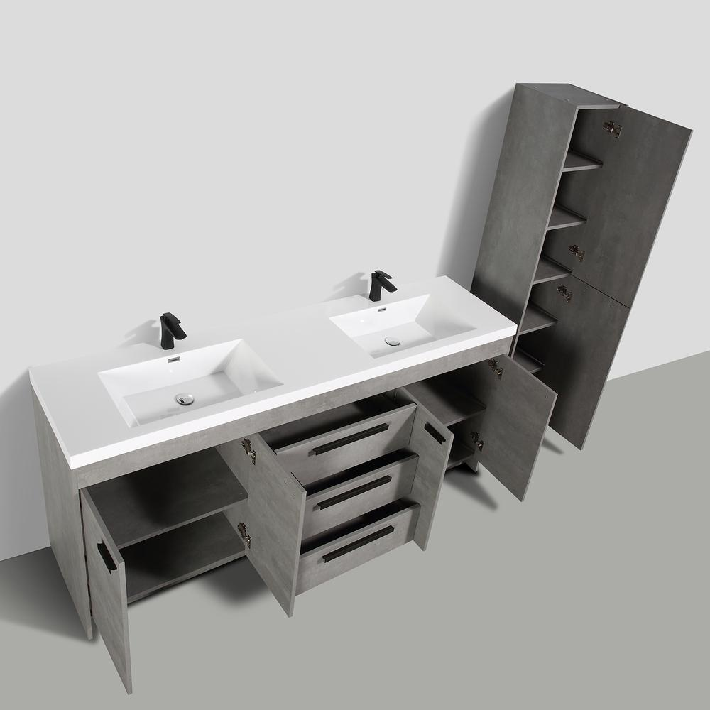 """Lugano 84"""" Cement Gray Modern Double Sink Bathroom Vanity w/ White Integrated Top. Picture 5"""