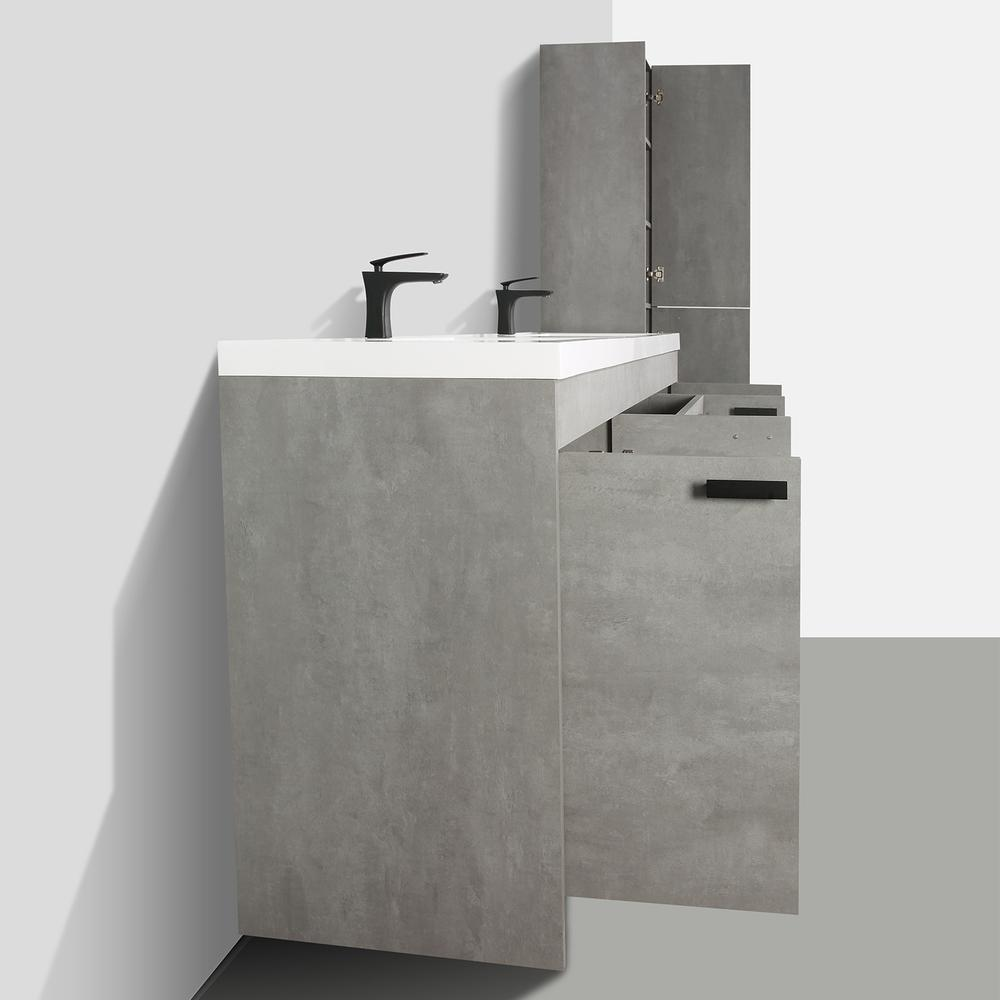 """Lugano 84"""" Cement Gray Modern Double Sink Bathroom Vanity w/ White Integrated Top. Picture 6"""