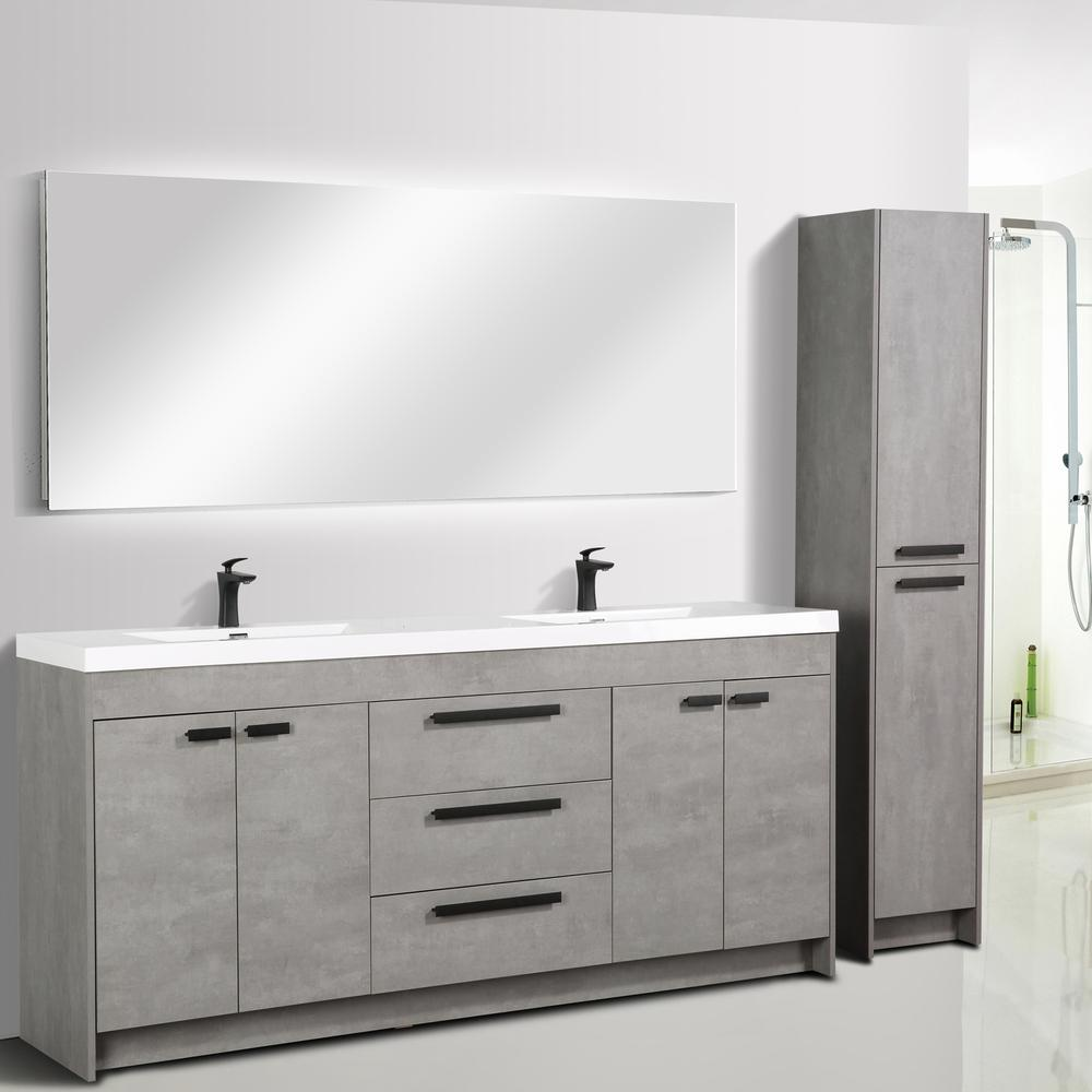 """Lugano 84"""" Cement Gray Modern Double Sink Bathroom Vanity w/ White Integrated Top. Picture 2"""