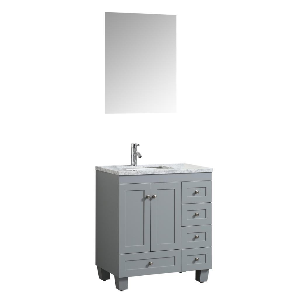 "Happy 24"" x 18"" Gray Transitional Bathroom Vanity w/ White Carrara Top. Picture 2"