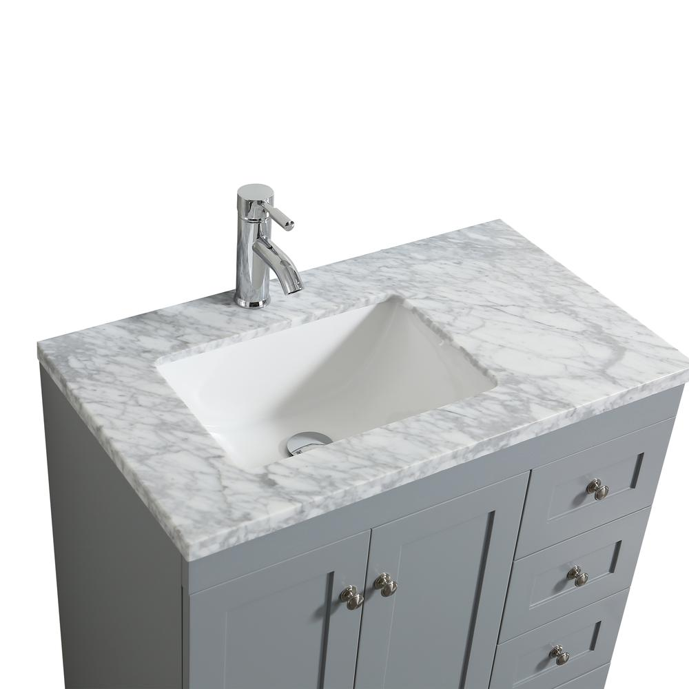 "Happy 24"" x 18"" Gray Transitional Bathroom Vanity w/ White Carrara Top. Picture 3"